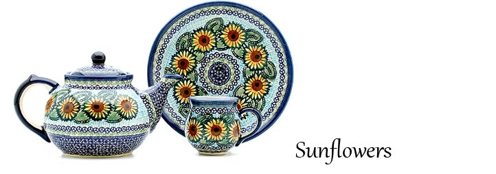 Sunflowers Pattern - Traditional Polish Pottery