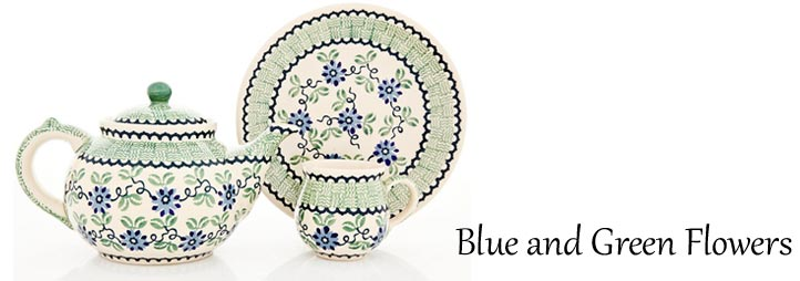 Traditional Polish Pottery: Blue and Green Flowers