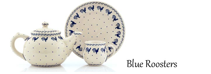 Traditional Polish Pottery: Blue Roosters