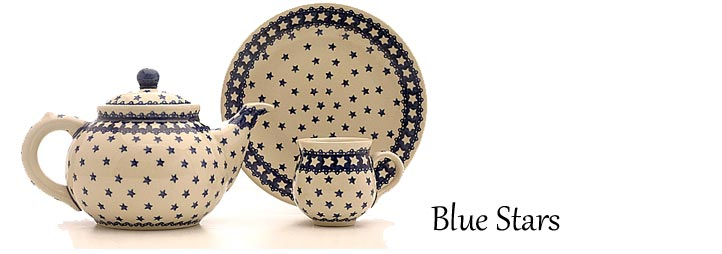 Traditional Polish Pottery: Blue Stars