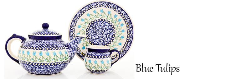 Traditional Polish Pottery: Blue Tulips