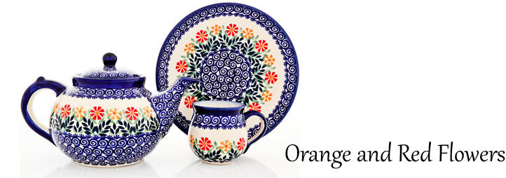 Traditional Polish Pottery: Orange and Red Flowers