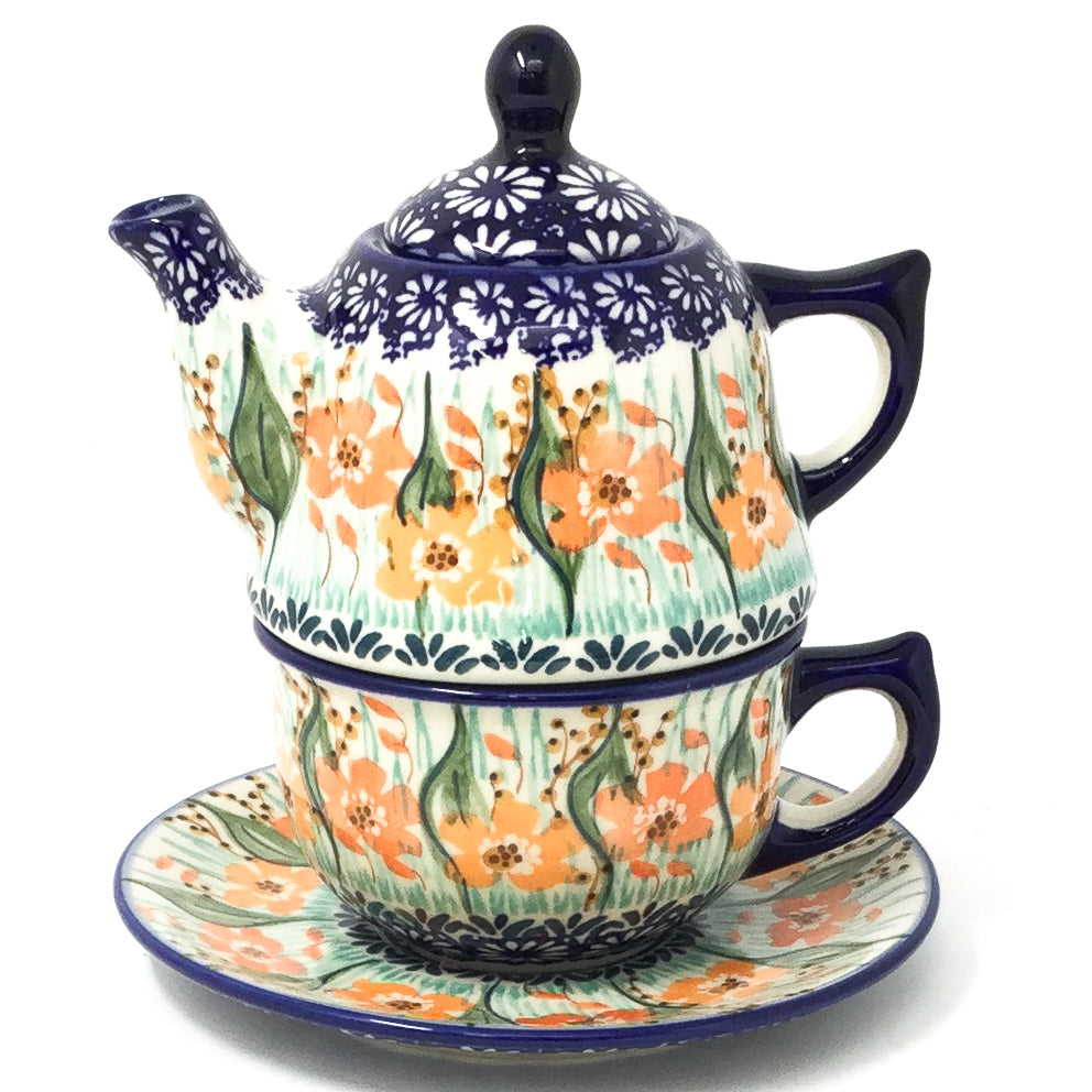 Teapot w/Cup & Saucer in Sunshine Meadow