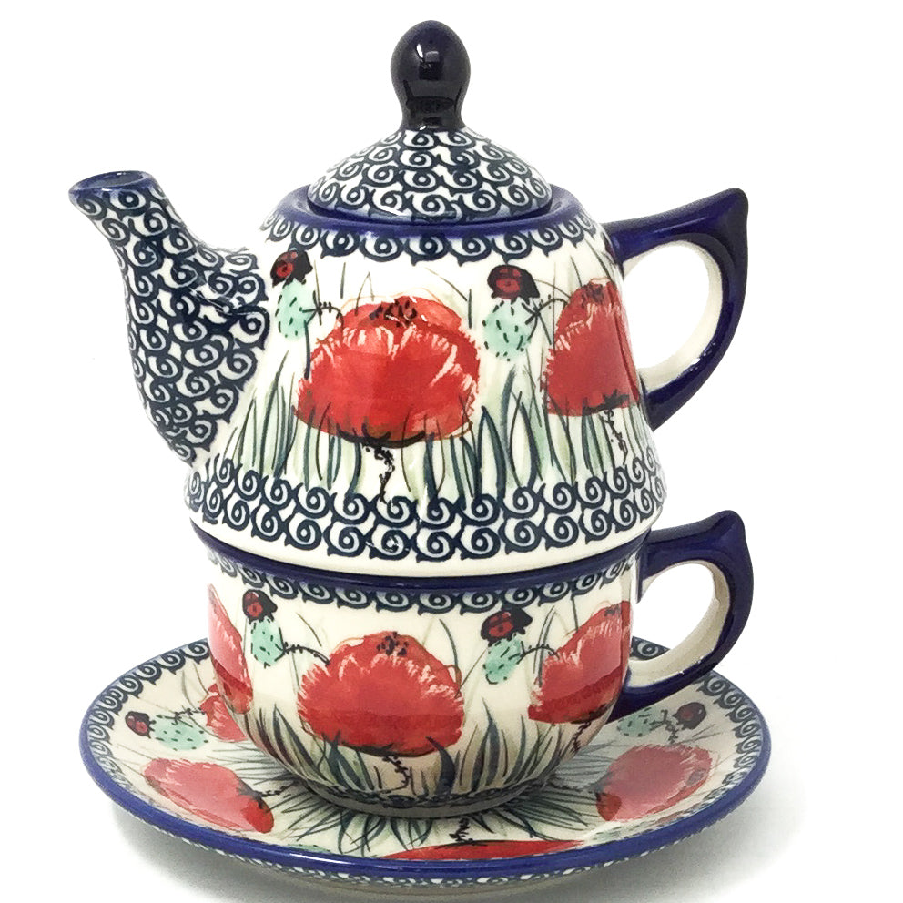 Teapot w/Cup & Saucer in Polish Poppy