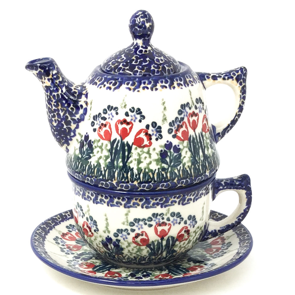 Teapot w/Cup & Saucer in Red Tulips