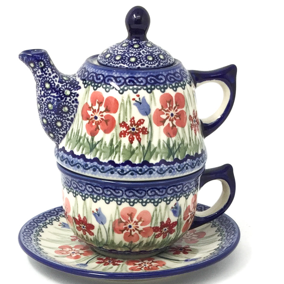 Teapot w/Cup & Saucer in Spring Meadow