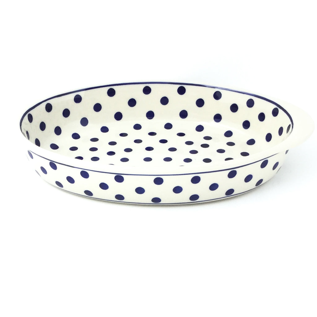 Sm Oval Baker w/Handles in Blue Polka-Dot