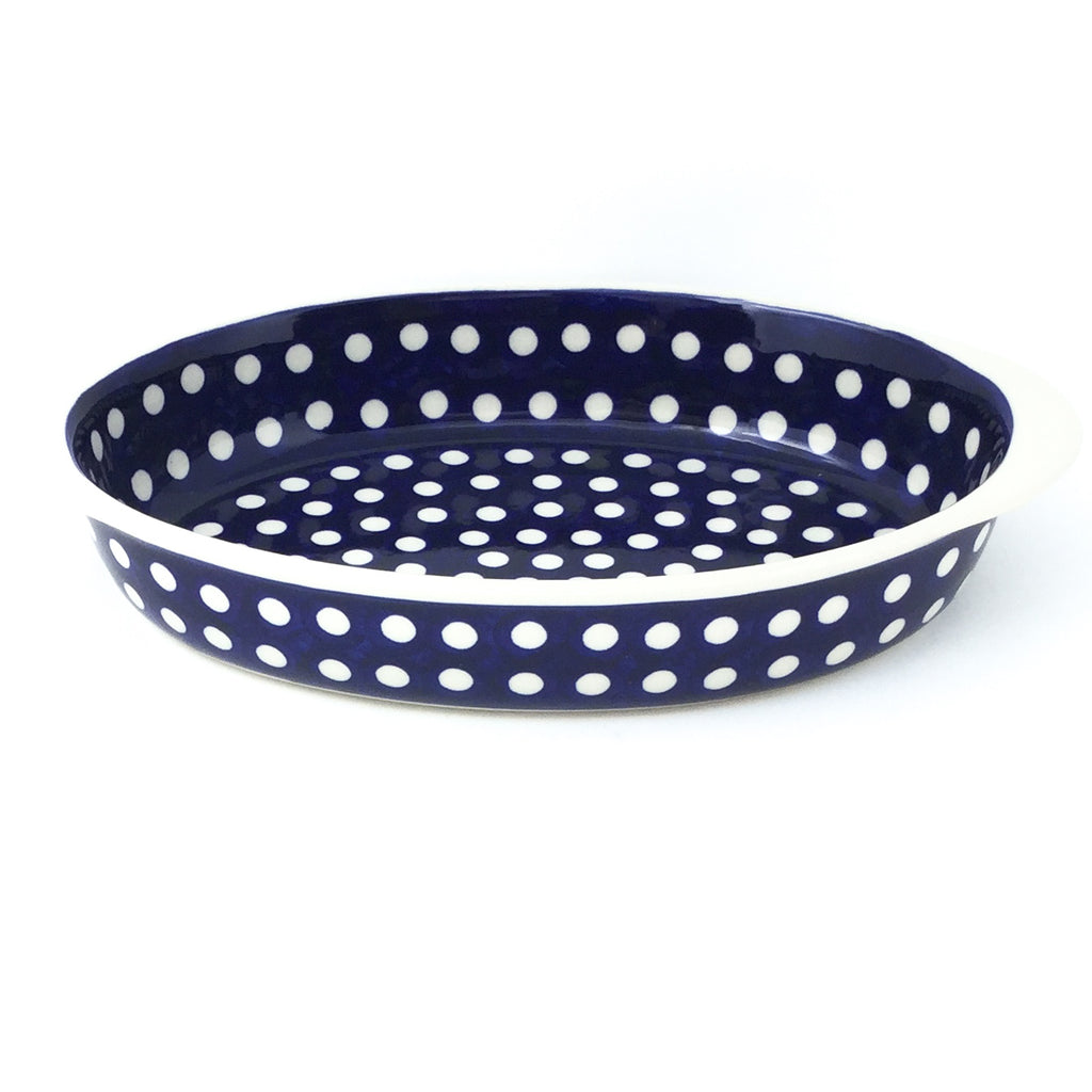 Sm Oval Baker w/Handles in White Polka-Dot