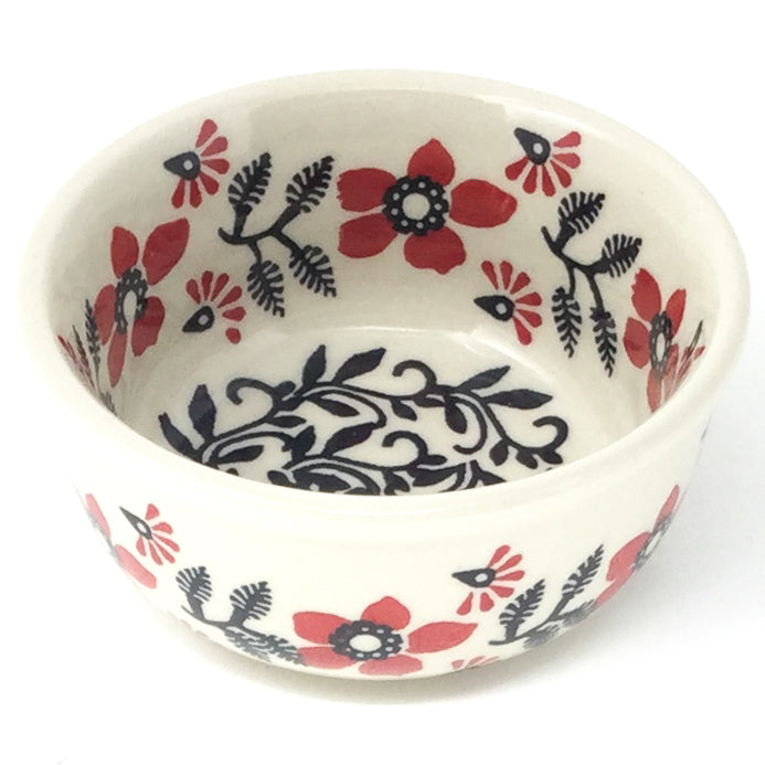 Tiny Round Bowl 4 oz in Red & Black