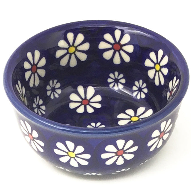 Tiny Round Bowl 4 oz in Flowers on Blue