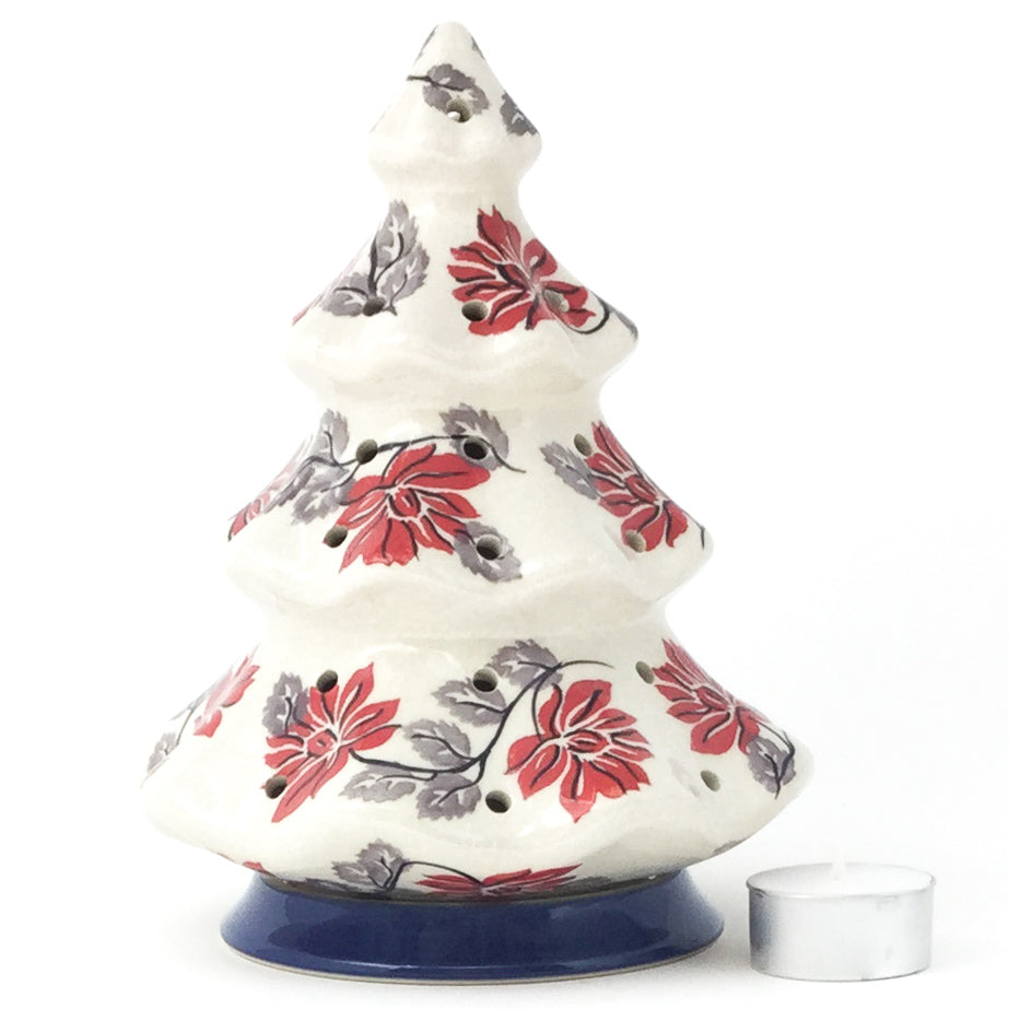 Tree Tea Candle Holder in Red & Gray
