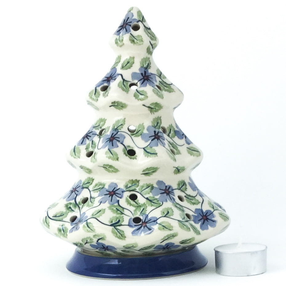 Tree Tea Candle Holder in Blue Clematis