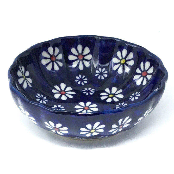 "Sm Shell Bowl 4.5"" in Flowers on Blue"