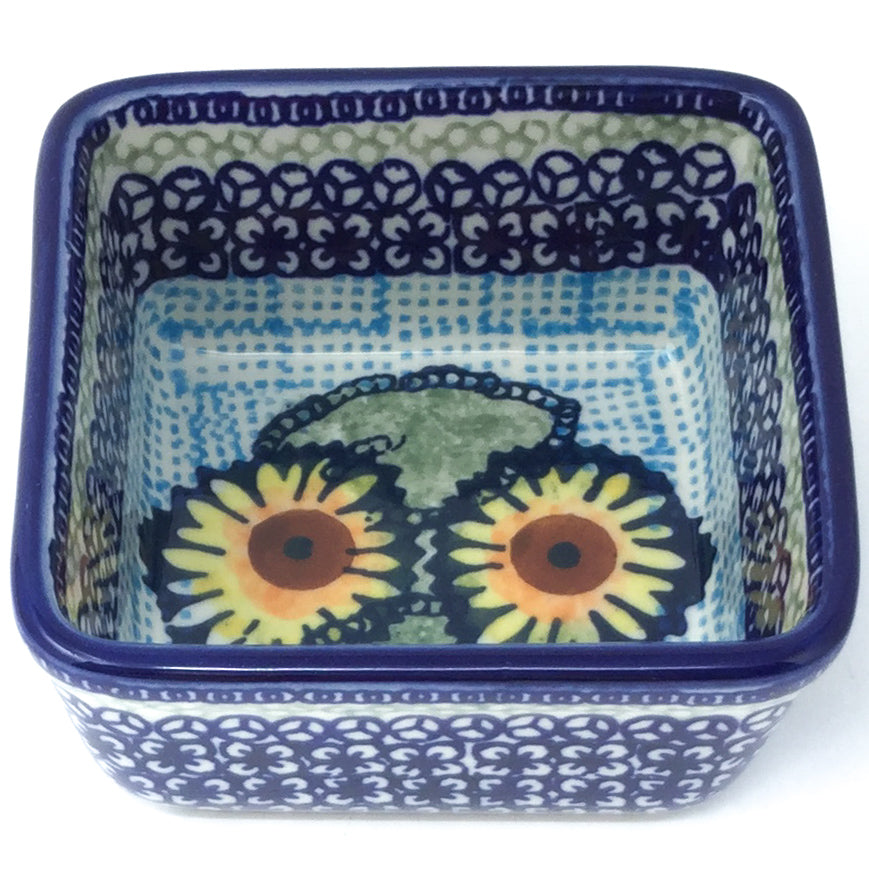 Tiny Sq. Bowl 8 oz in Sunflowers