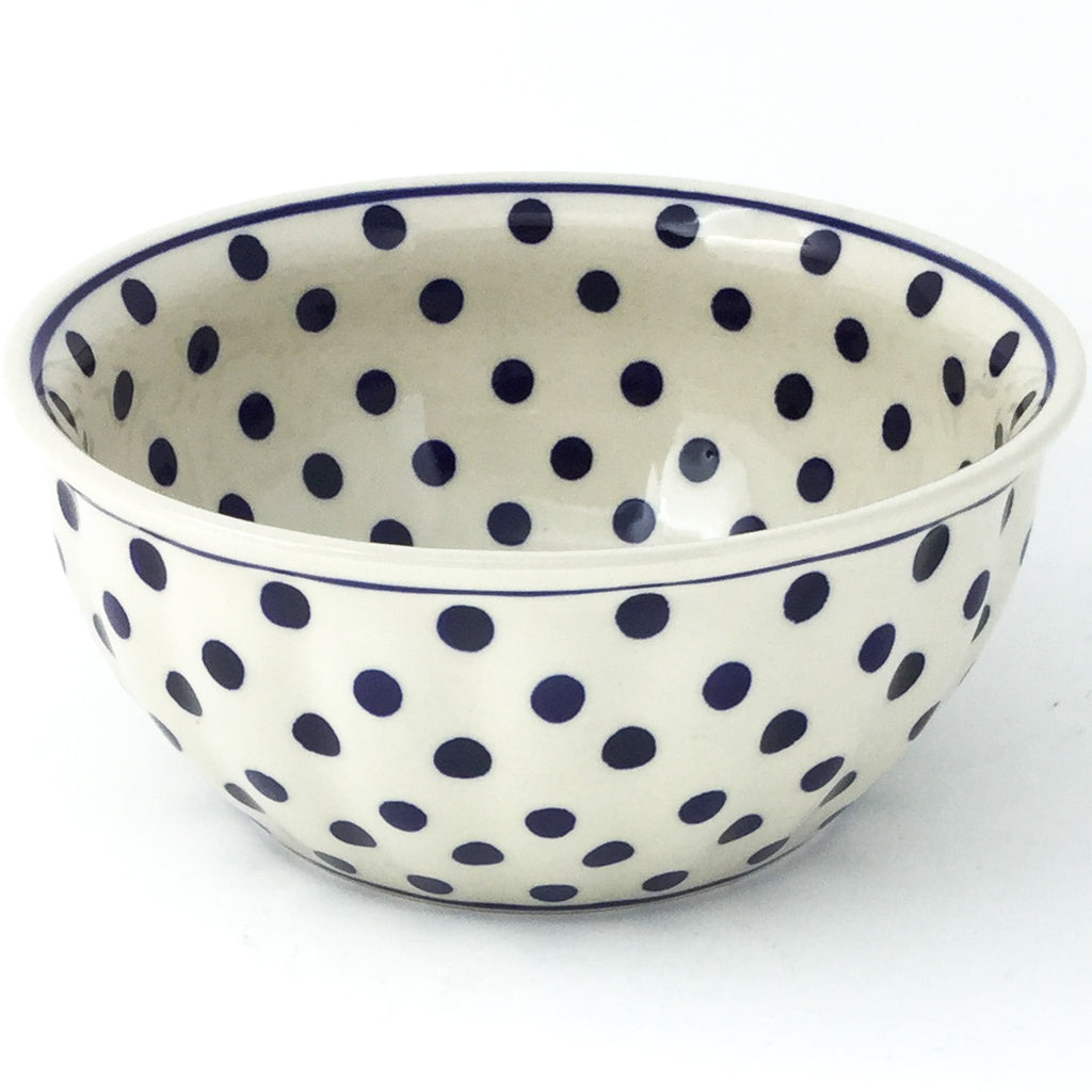 Scalloped Bowl 48 oz in Blue Polka-Dot