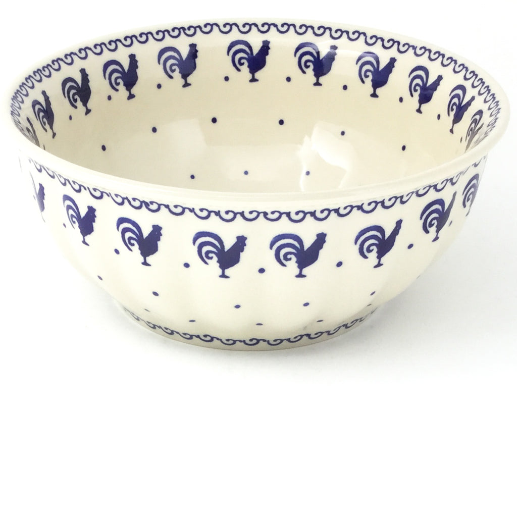 Scalloped Bowl 64 oz in Blue Roosters