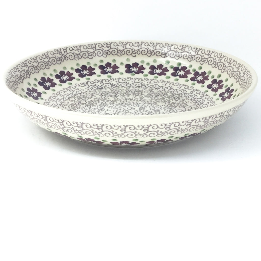 Lg Pasta Bowl in Purple & Gray Flowers