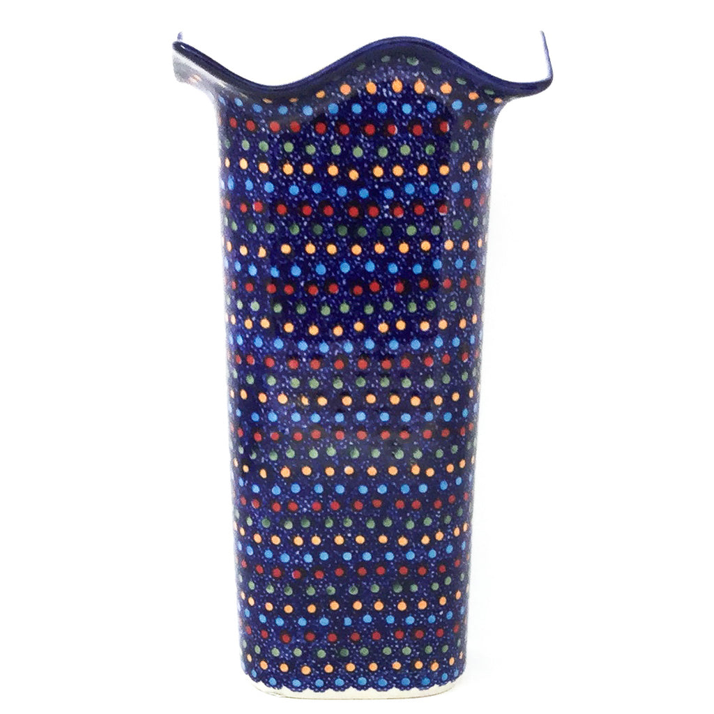 Fluted Vase in Multi-Colored Dots
