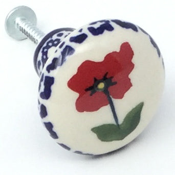 Drawer Pull in Red Daisy