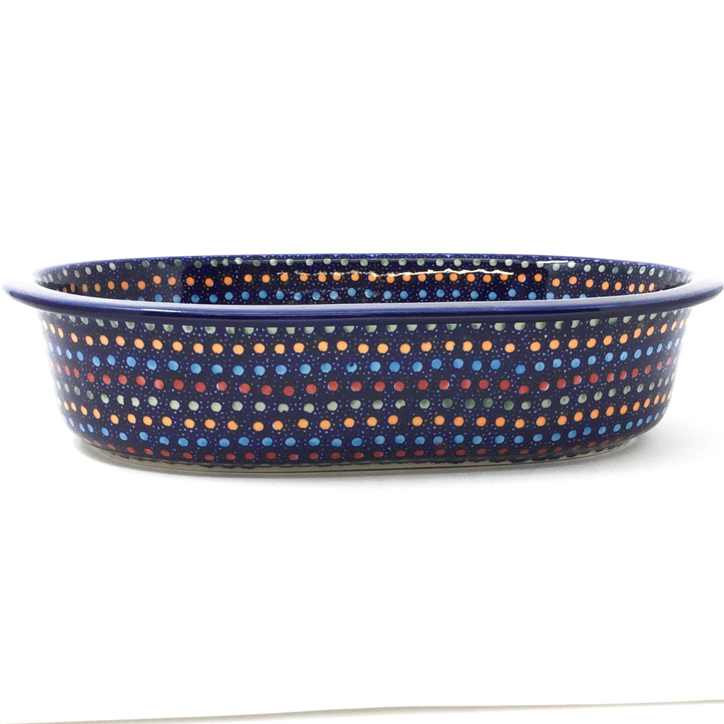Lg Oval Baker in Multi-Colored Dots