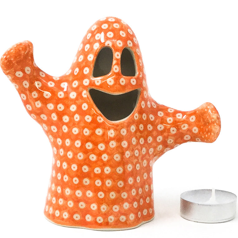 Ghost Tea Candle Holder in Orange Elegance