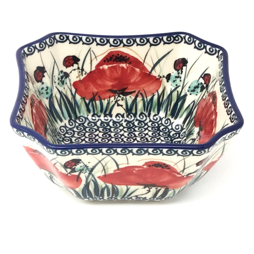 Square Soup Bowl 16 oz in Polish Poppy