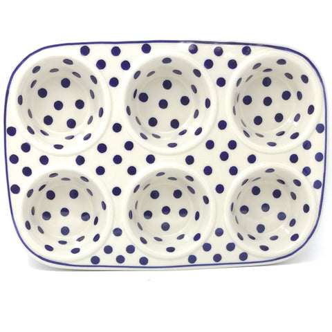 Muffin Baker in Blue Polka-Dot