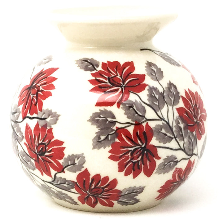 Round Vase in Red & Gray