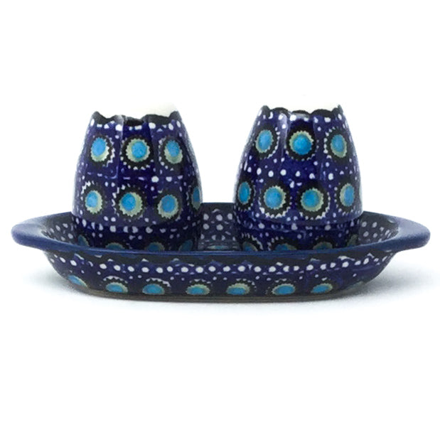 Salt & Pepper Set w/Tray in Blue Moon