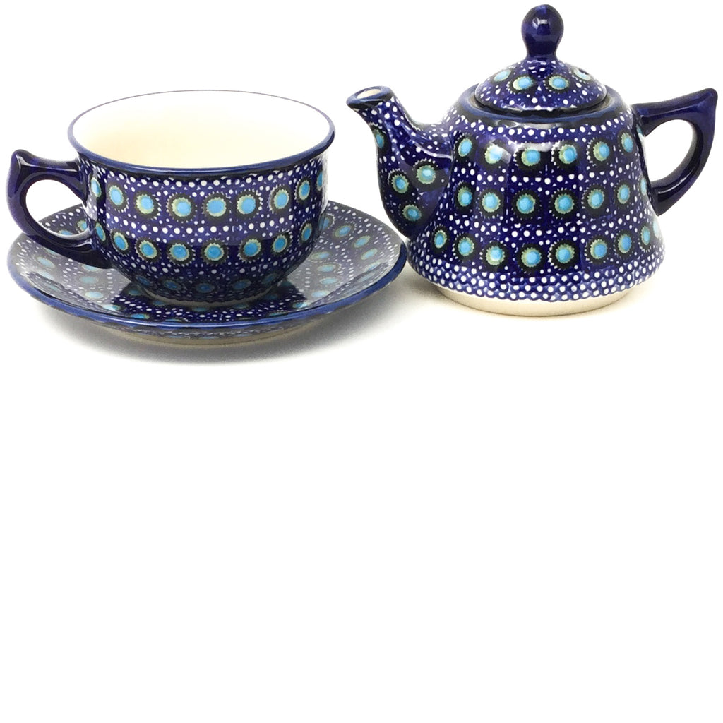 Teapot w/Cup & Saucer in Blue Moon