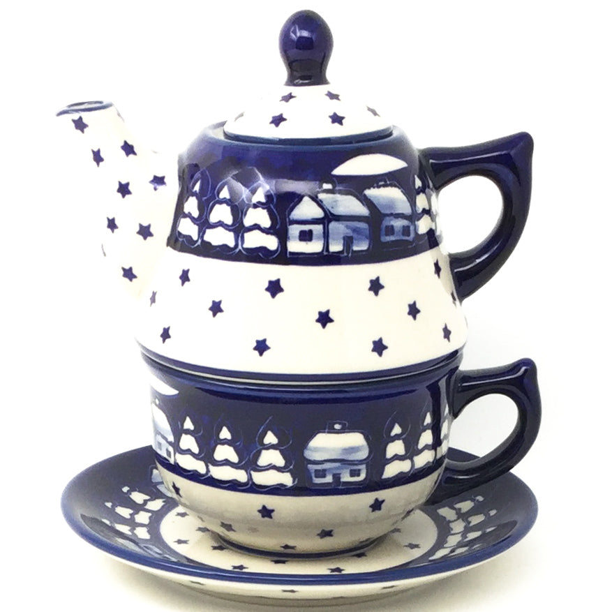 Teapot w/Cup & Saucer in Winter
