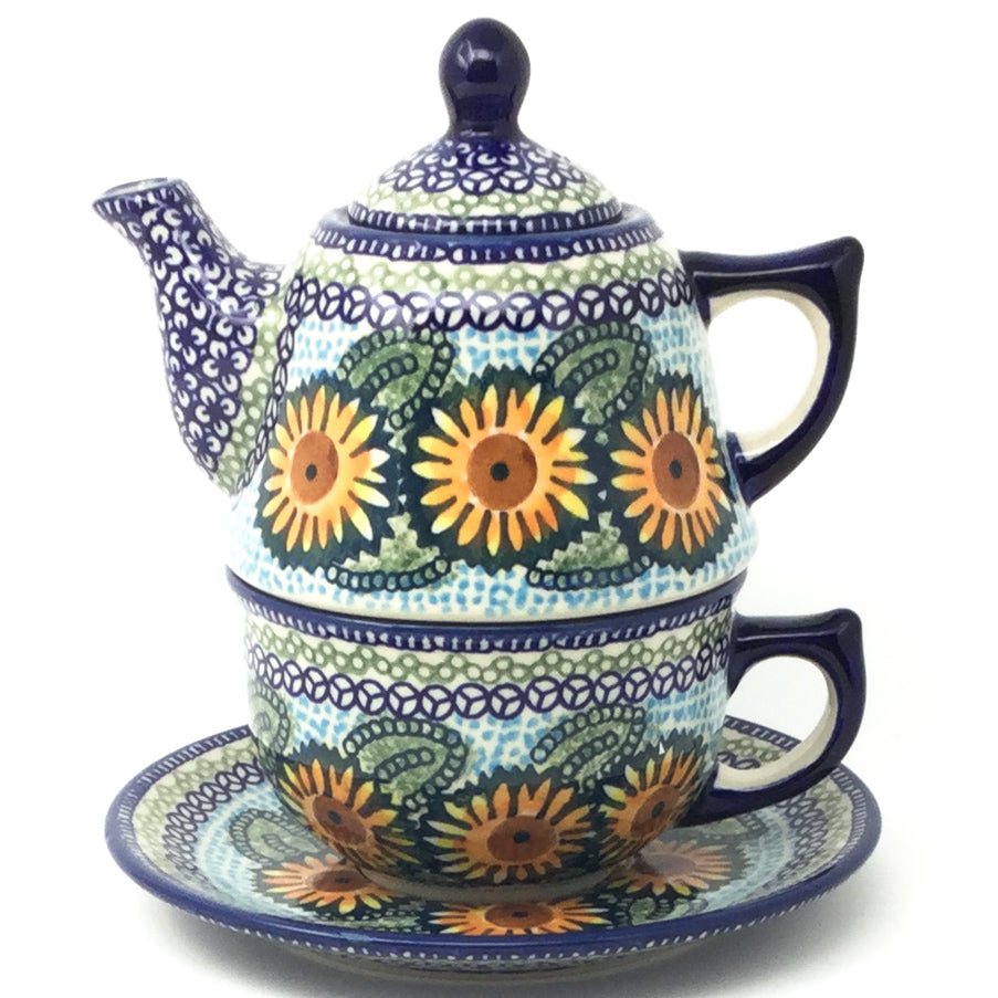 Teapot w/Cup & Saucer in Sunflowers