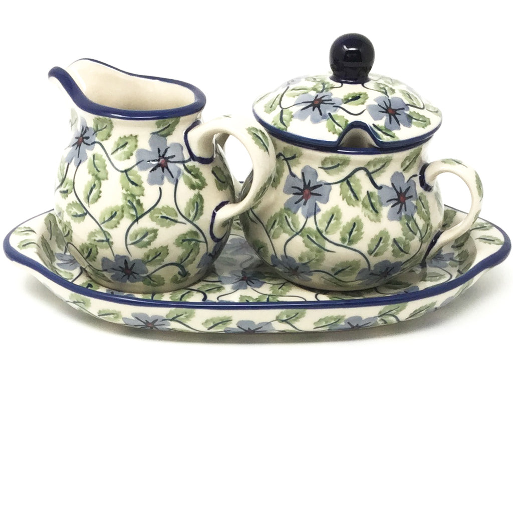 Creamer & Sugar Set w/Tray in Blue Clematis