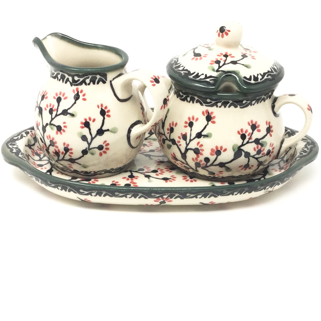 Creamer & Sugar Set w/Tray in Japanese Cherry
