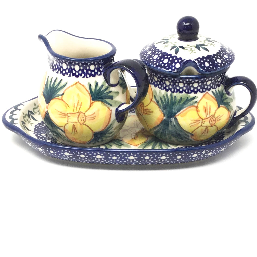 Creamer & Sugar Set w/Tray in Daffodils
