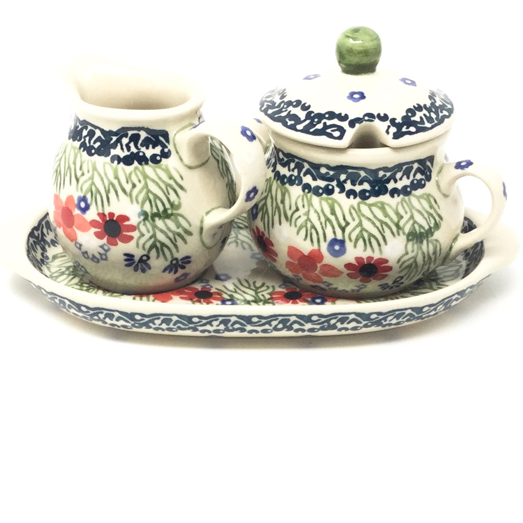 Creamer & Sugar Set w/Tray in Dill Flowers