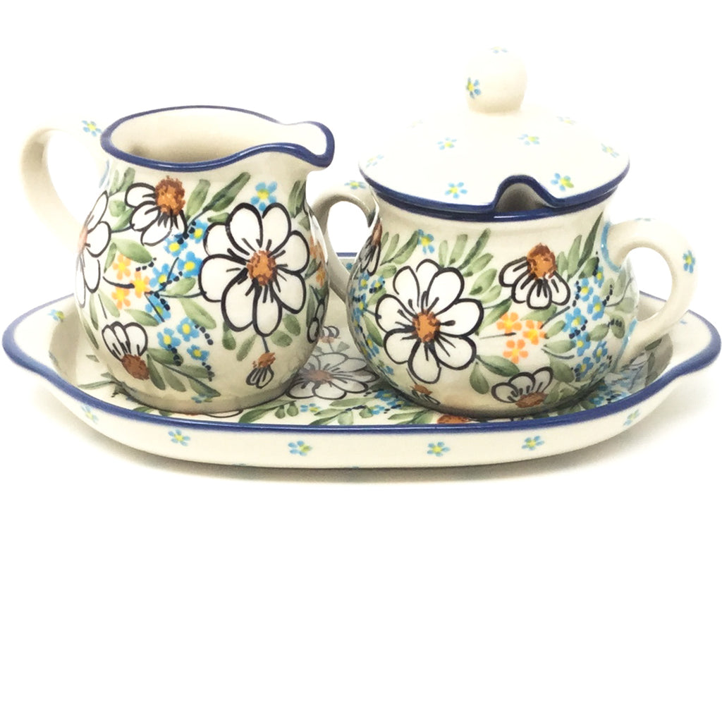 Creamer & Sugar Set w/Tray in Spectacular Daisy