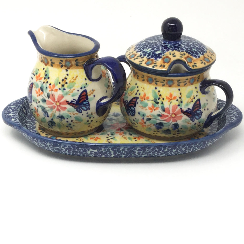 Creamer & Sugar Set w/Tray in Butterfly Meadow