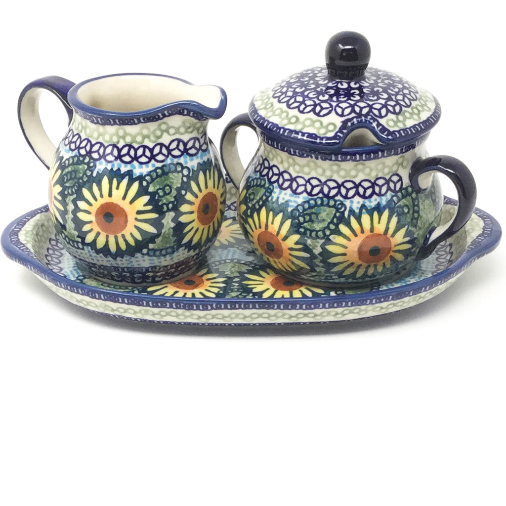 Creamer & Sugar Set w/Tray in Sunflowers