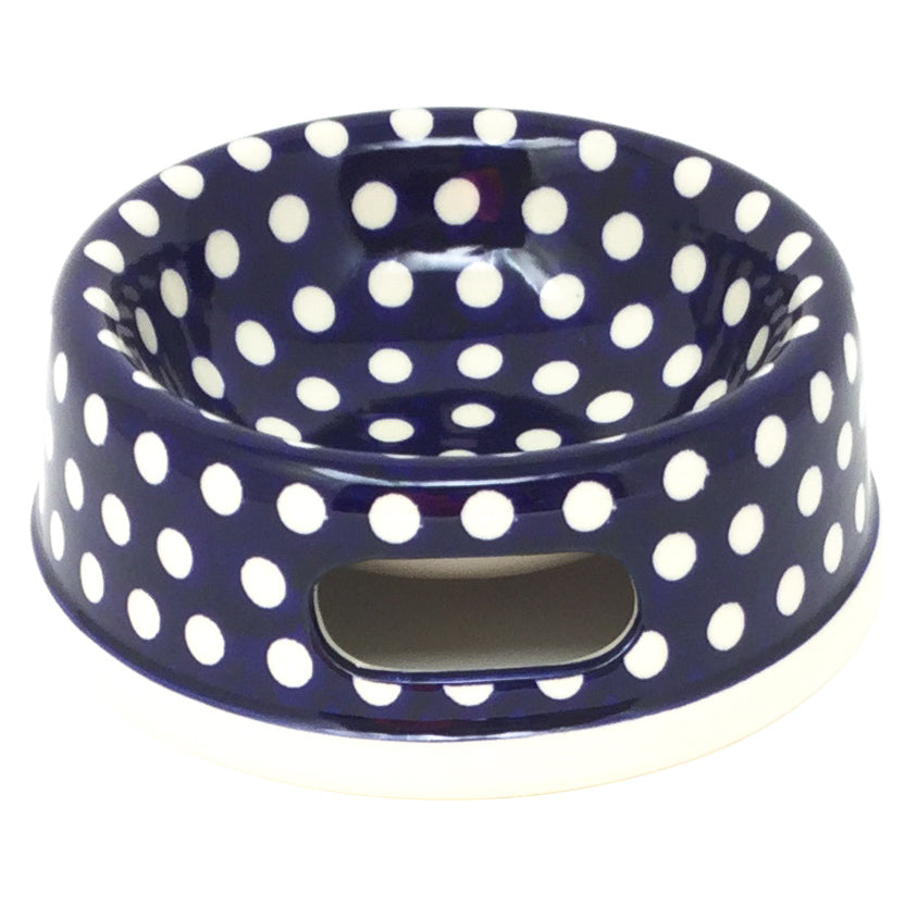 Sm Dog or Cat Bowl in White Polka-Dot