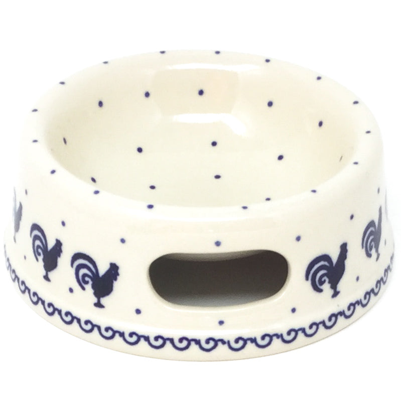 Sm Dog or Cat Bowl in Blue Roosters