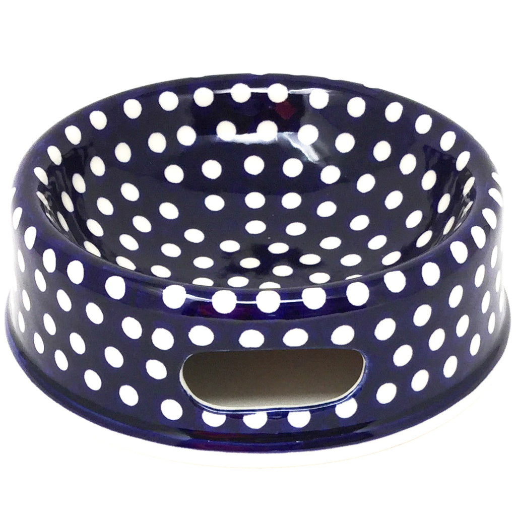 Md Dog Bowl in White Polka-Dot