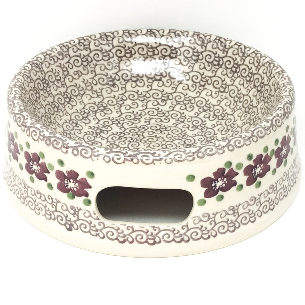 Lg Dog Bowl in Purple & Gray Flowers