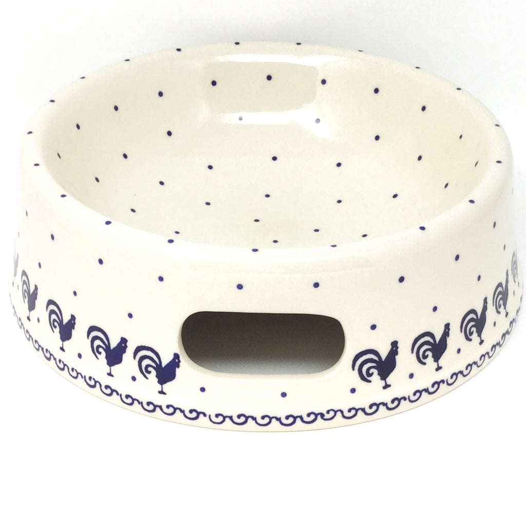 Lg Dog Bowl in Blue Roosters