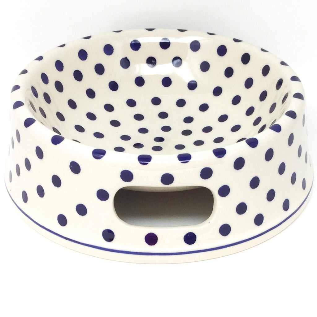 Lg Dog Bowl in Blue Polka-Dot