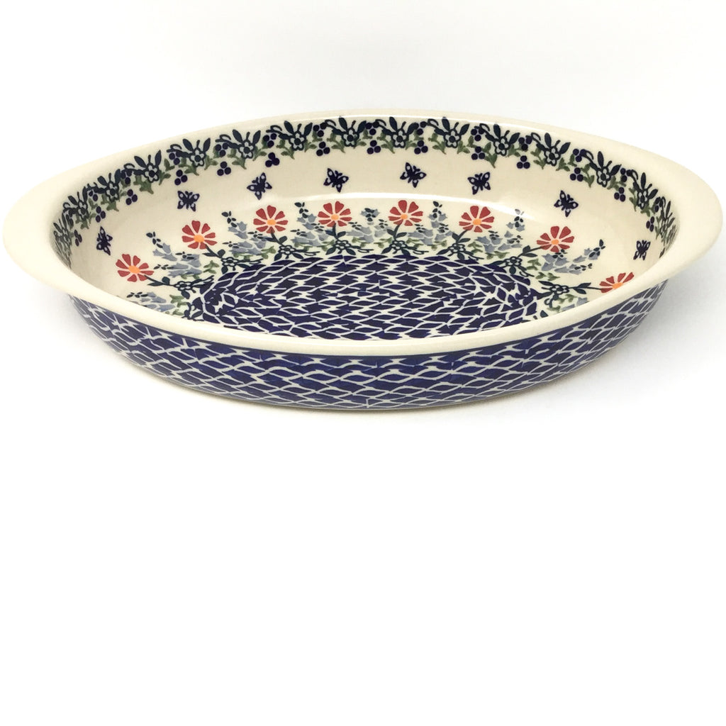 Md Oval Baker w/Handles in Wavy Flowers