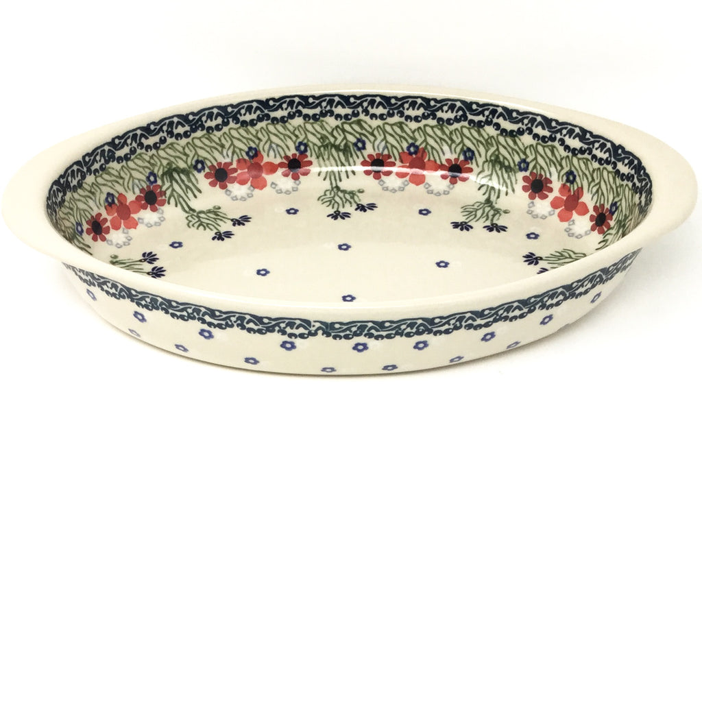 Md Oval Baker w/Handles in Dill Flowers