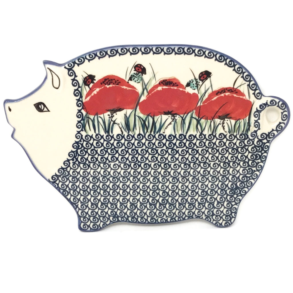 Piggy Cutting Board in Polish Poppy