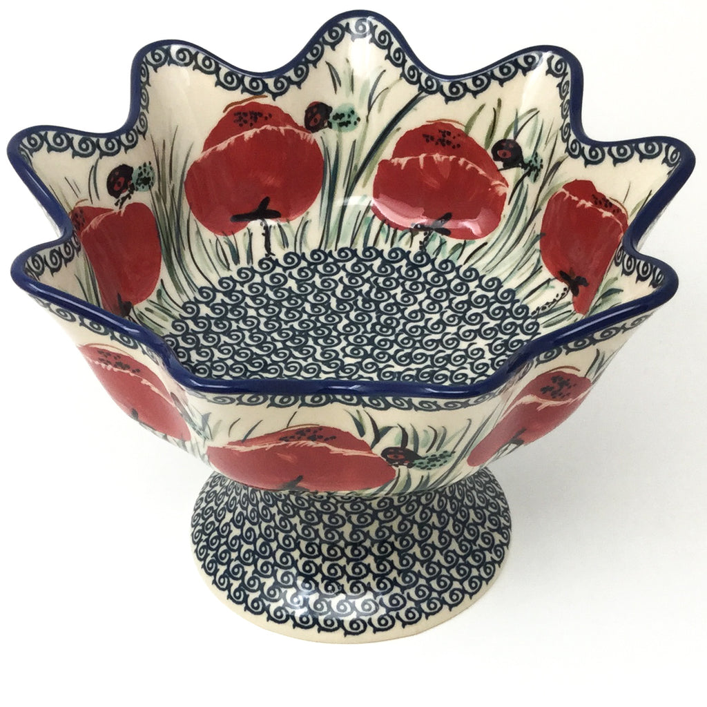 Pedestal Berry Bowl in Polish Poppy