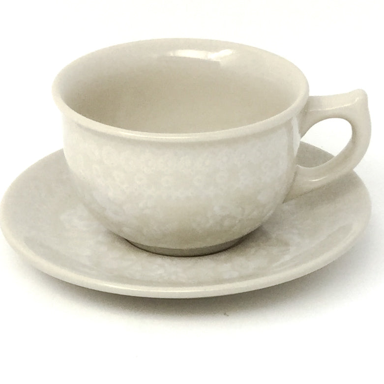 Tea Cup w/Saucer 8 oz in White on White